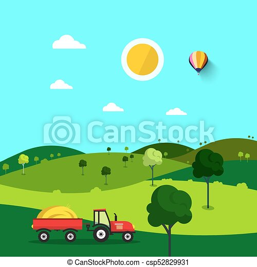 Field. Nature Cartoon with Trees and Tractor. Sunny Day. Rural Scene. - csp52829931