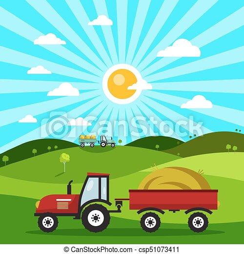 Field with Tractors. Tractor on Meadow. Vector Flat Design Nature Cartoon. - csp51073411