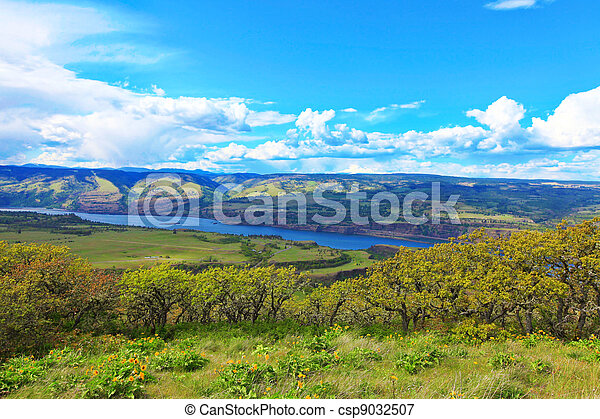 Fields, hills, river and mountains landscape. - csp9032507
