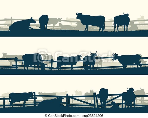 Farm Fence Clipart vector clipart of fields with fence and farm animals. - horizontal