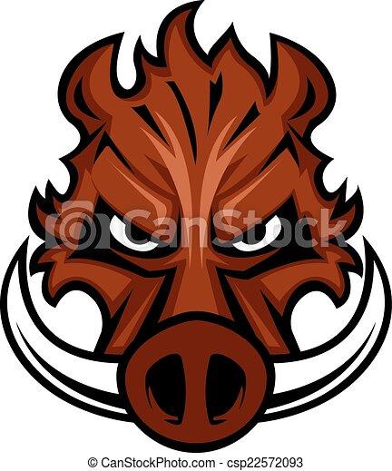 Fierce angry wild boar head - csp22572093