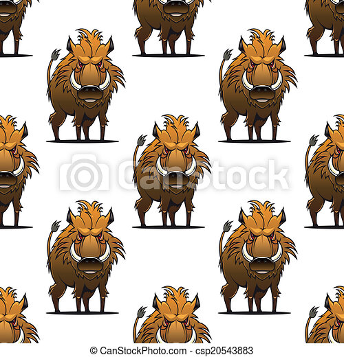 Fierce angry wild boar or warthog seamless pattern - csp20543883