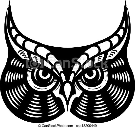 Fierce Looking Horned Owl Cartoon Vector Illustration In Black And