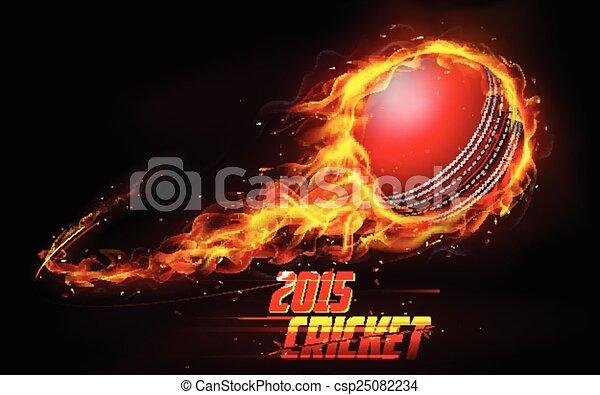 Fiery cricket ball - csp25082234