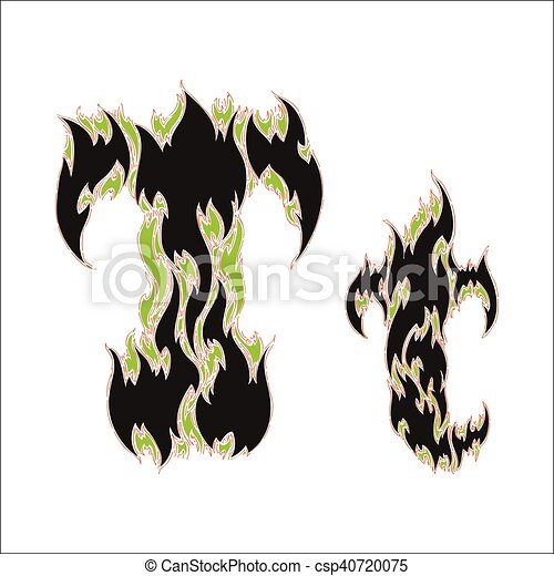 Fiery Font Black And Green Letter T On White Background