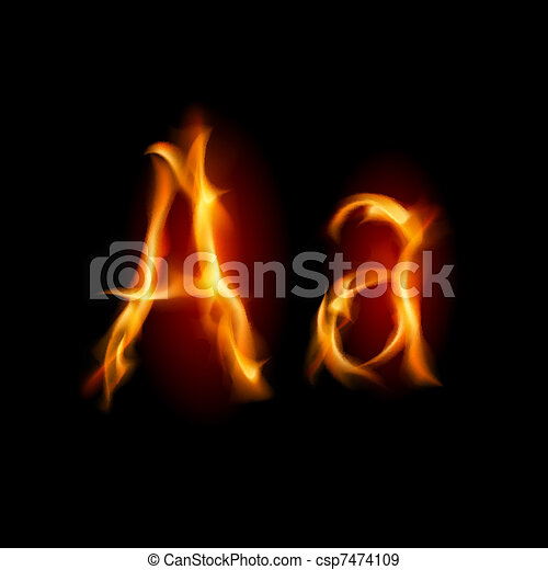 Fiery font. Letter A - csp7474109