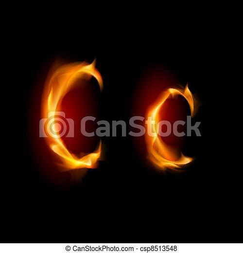Fiery font. Letter C - csp8513548