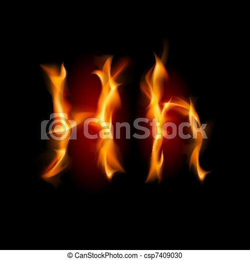 Fiery font. Letter H - csp7409030