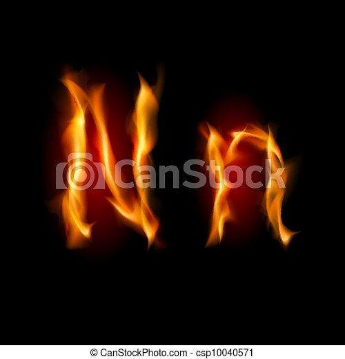 Fiery font. Letter N - csp10040571