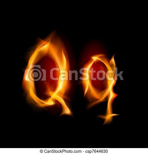 Fiery font. Letter Q  - csp7644630