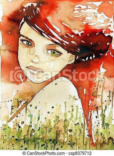 fiery portrait. - csp8379712