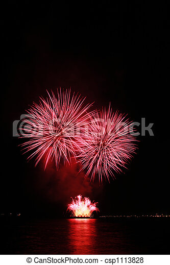 fiery red fireworks - csp1113828