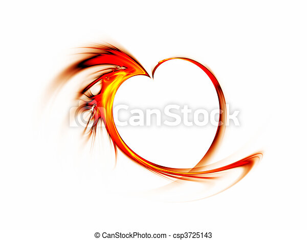 fiery red heart on white background - csp3725143