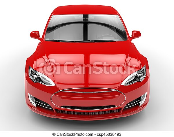 Fiery red modern electric fast car - front view closeup - csp45038493