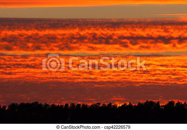 Fiery red sunset clouds - csp42226579