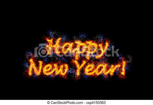 Fiery text Happy New Year. - csp4150363