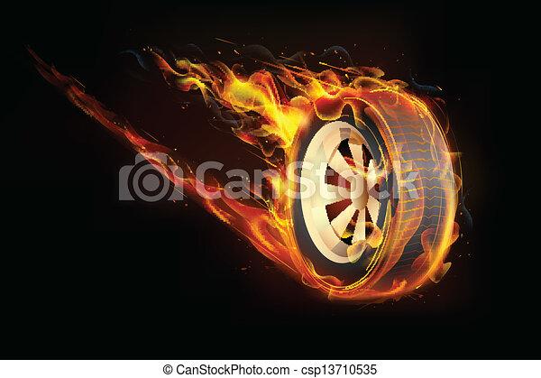 fiery, tyre - csp13710535