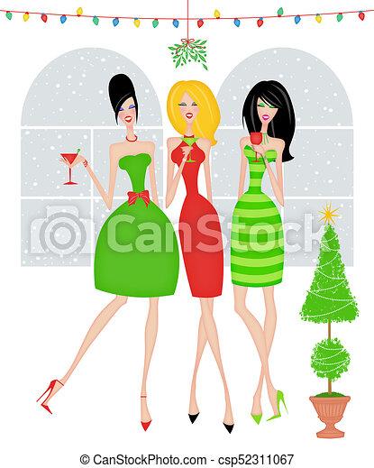 Amigos elegantes en una fiesta de Navidad - csp52311067