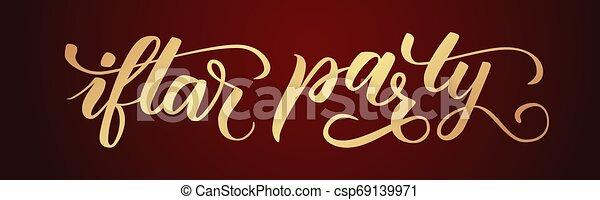 La caligrafía de Iftar Party - csp69139971