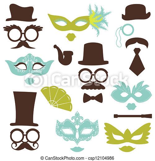 fiesta, conjunto, anteojos, labios, -, máscaras, vector, retro, foto, álbum de recortes, cabina, sombreros, diseño, bigotes - csp12104986