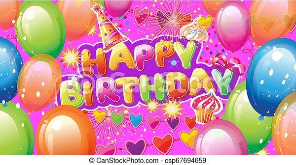 Banner con elementos de fiesta de cumpleaños - csp67694659