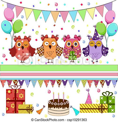 Lechuzas de cumpleaños - csp10291363