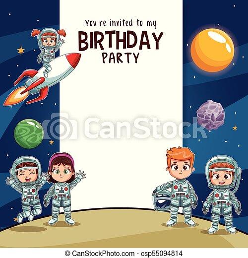 Fiesta Cumpleaños Niños Tarjeta Invitación Cumpleaños