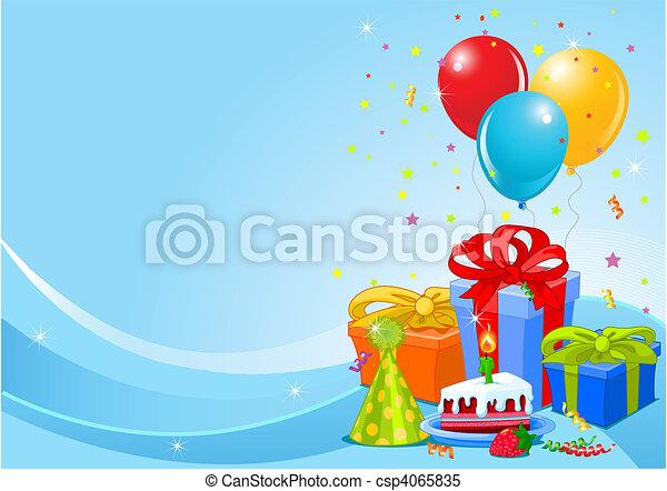 fiesta, cumpleaños, plano de fondo - csp4065835