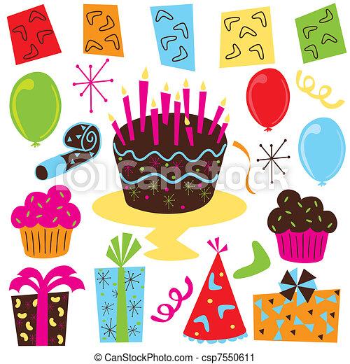 fiesta, cumpleaños, retro, clipart - csp7550611