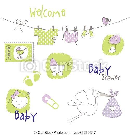 Elementos de diseño de Baby shower - csp35269817