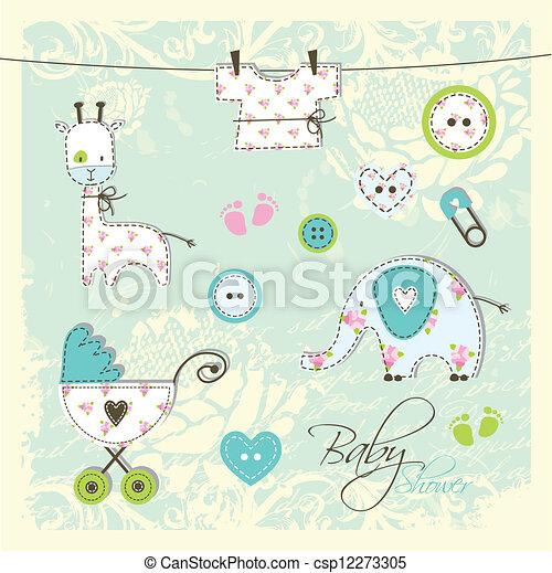 Elementos de diseño de Baby shower - csp12273305