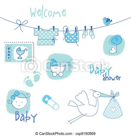 fiesta de nacimiento, elementos, diseño - csp9160869