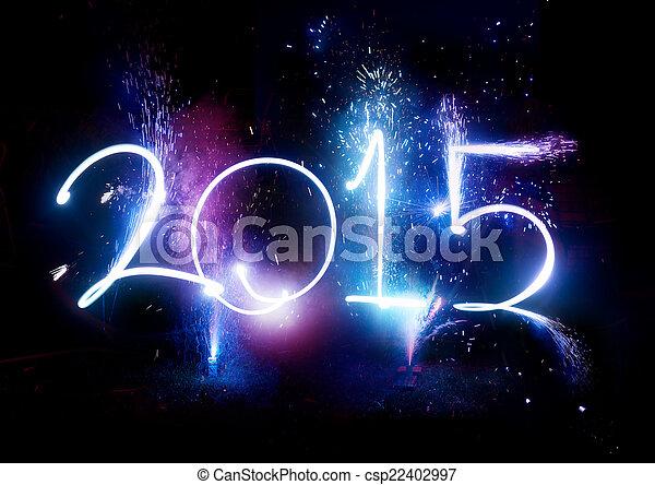 ¡Fiesta de fuegos artificiales 2015, exhibición de año nuevo! - csp22402997