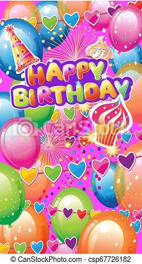 Tarjeta con elementos de fiesta de cumpleaños - csp67726182