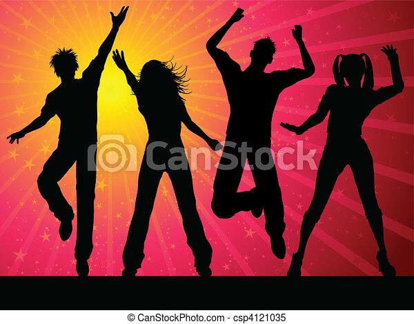Gente de fiesta bailando - csp4121035