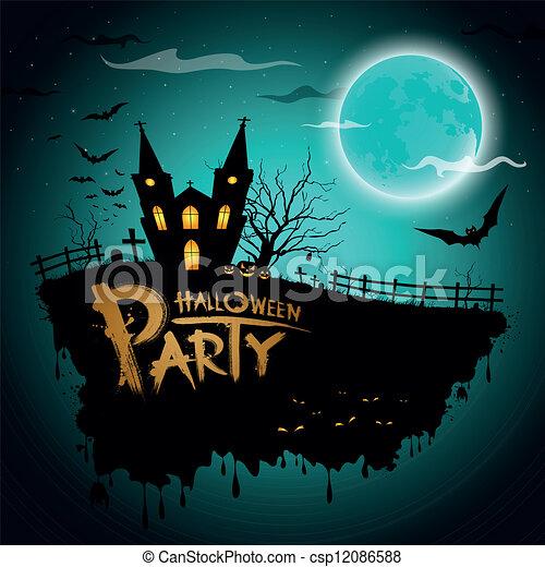 Una tarjeta de felicitación de Halloween - csp12086588