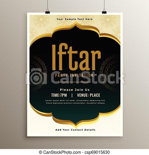 Diseño de plantilla de invitación de Iftar Party - csp69015630