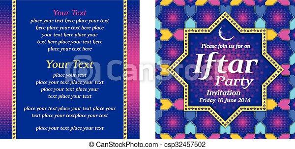 La invitación de la fiesta de Iftar - csp32457502