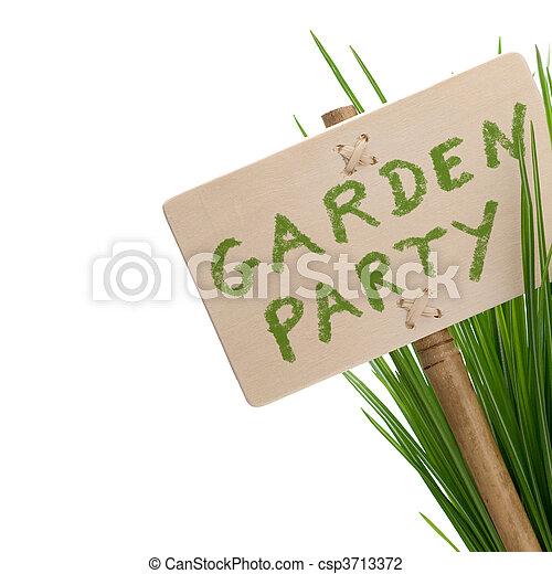 fiesta, mensaje, jardín - csp3713372