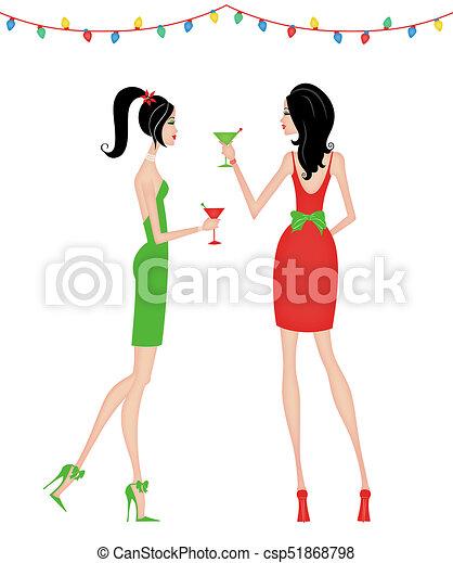 Mujeres elegantes en una fiesta de Navidad - csp51868798
