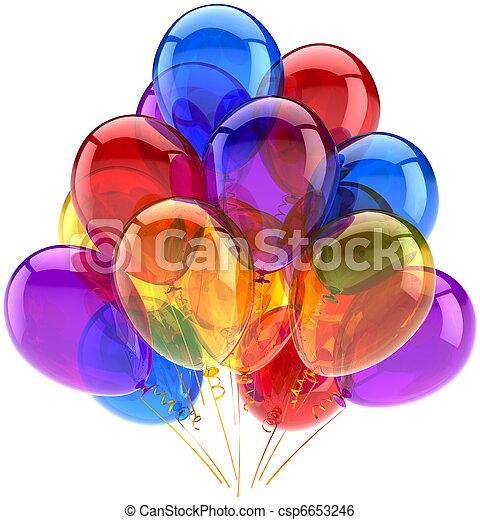 Globos de fiesta de cumpleaños multicolor - csp6653246