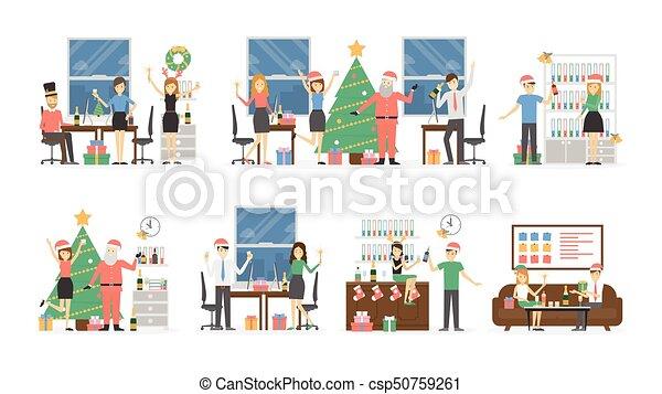 Fiesta de Navidad de la oficina. - csp50759261