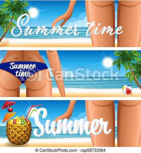 Pancarta de fiesta en la playa - csp58733364