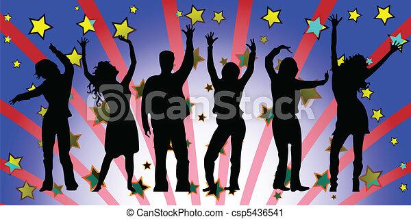 Gente de fiesta siluetas - csp5436541