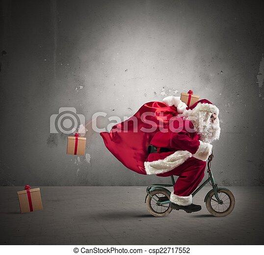 fiets, claus, kerstman, vasten - csp22717552