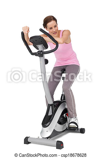 fiets, mooi, lengte, stationair, volle, vrouw - csp18678628