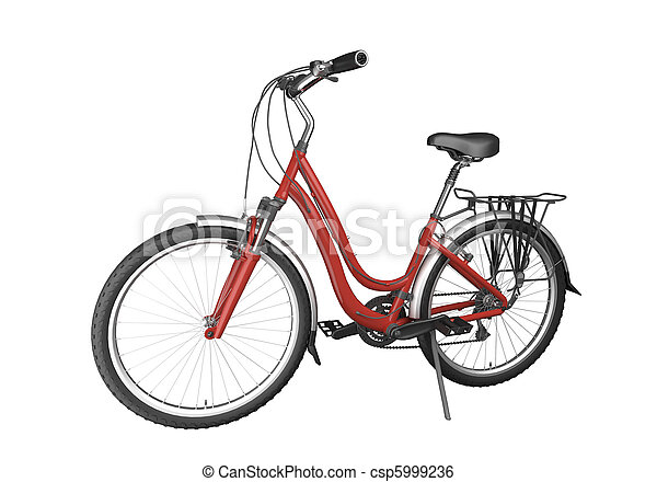fiets, rood, isoalted - csp5999236