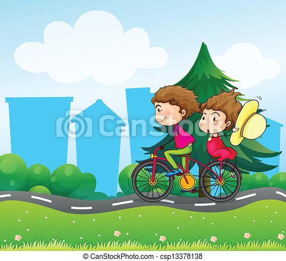 fiets, twee mensen - csp13378138