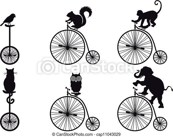 fiets, vector, dieren, retro - csp11043029
