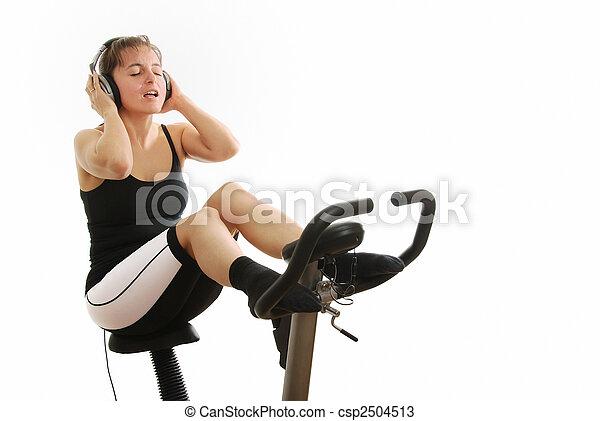 fiets, vrouw, het spinnen, headphones - csp2504513